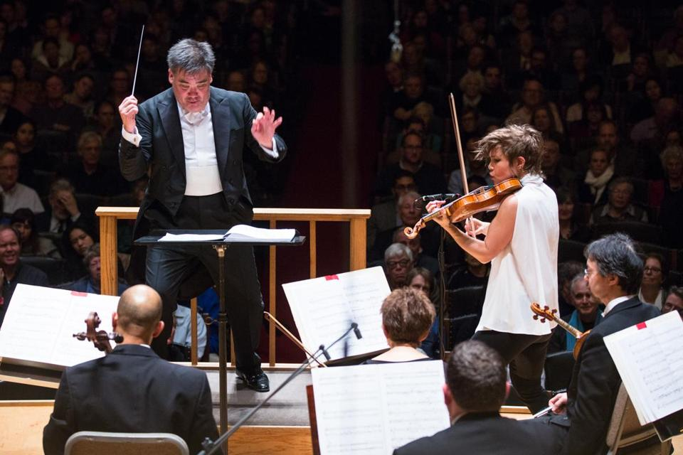 "Alan Gilbert led the Boston Symphony Orchestra and violinist Leila Josefowicz in a performance of John Adams's ""Scheherazade.2"" at Symphony Hall."